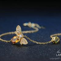 LAMOON チャームブレスレット ミツバチ 海外ブランド 100%天然オーバルシトリン チェーン イエロー レディース