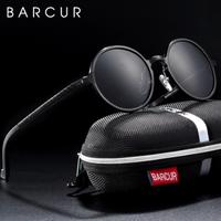 【レトロなラウンド】 BARCUR 偏光サングラス ユニセックス 海外高級ブランド UV400 ポラロイド ドライブ アウトドア BC8552 【選べる3色】