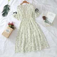シフォンワンピース 花柄 ハイウエスト エンパイア Aライン シャツ ワンピース ドレス 夏 かわいい 上品 デート お呼ばれ エレガント
