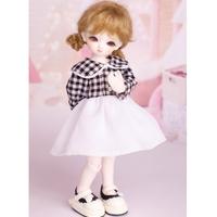 球体関節人形 BJD ドレス 服 チェック柄 白+黒 カスタムドール 衣装 人形用 かわいい 1/3 1/4 1/6 選べる3サイズ