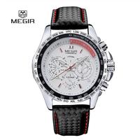 MEGIR メンズ腕時計 クォーツ 海外 高級ブランド 防水 3ATM レザーバンド 発光 ルミナスハンズ 1010G