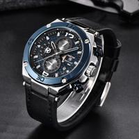 【BENYAR】 クロノグラフ メンズ 腕時計 3気圧防水 本革ベルト ミリタリー 日付表示 クォーツ 高級 海外ブランド 【選べる3色】