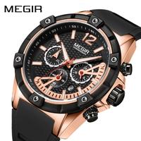 【MEGIR】 メンズ 腕時計 3気圧防水 クォーツ クロノグラフ シリコンベルト 日付表示 ルミナスハンズ 海外トップブランド 【選べる3色】