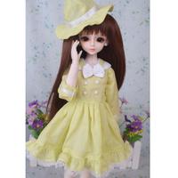 球体関節人形 ドレス+帽子(ハット) 黄色 ドール衣装 BJD 服 カスタムドール 可愛い イエロー 1/3 1/4 1/6 選べる3サイズ