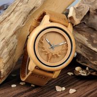 BOBO BIRD バンブーウォッチ 鹿の角の文字盤 ユニセックス ボボバード 竹製腕時計 レディース メンズ レザーベルト クォーツ 海外高級ブランド A27