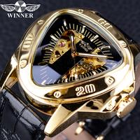 T-WINNER メンズ腕時計 三角形 スケルトン スチームパンク 機械式 自動巻き 革ベルト レザー 高級 発光 海外トップブランド レトロ 人気 選べる3種類