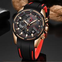 LIGE メンズ腕時計 防水 クロノグラフ シリコンベルト 日付表示 クォーツ スポーツウォッチ 海外トップブランド 選べる3色