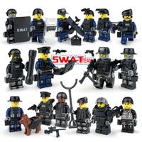 レゴ互換 ミリタリー スワット アメリカ警察 特殊部隊 SWAT 警察犬 兵士 武器 ミニフィグ ブロックセット