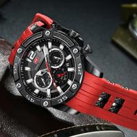 MINIFOCUS メンズ腕時計 防水 シリコンベルト 日付表示 クォーツ 多機能 スポーツ 海外高級ブランド 人気 選べる5色