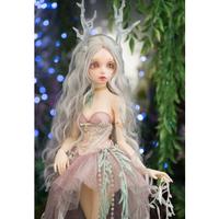 BJD 女の子 エヴァ 球体関節人形 本体+眼球+メイクアップ済み 1/4 手作り カスタムドール 美しい ホワイト ピンク ノーマル ライトグリーン パープル 5色