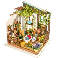 【DG108】 ROBOTIME ガーデン ミラーの庭 木製立体パズル フラワーハウス ミニチュア 組み立てキット 3D DIY 自作 簡単に作れる 【カラフルで楽しい】