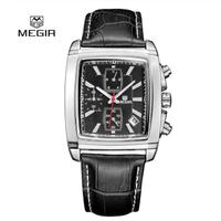 MEGIR メンズ腕時計 スポーツ 防水 クロノグラフ 発光 日付表示 クォーツ レザーバンド
