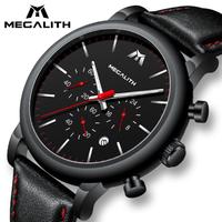 【ブラック】 MEGALITH クロノグラフ 本革ベルト 防水 日付表示 高級 メンズ腕時計 クォーツ 【シンプル】