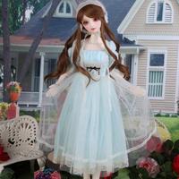 球体関節人形 BJD 服 レースドレス+帽子+靴下 青 ブルー カスタムドール 衣装 人形用 美しい 上品 爽やか 1/3 1/4 1/6 選べる3サイズ