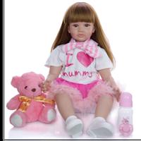 リボーンドール 女の子 ベビードール 本体+服+ウィッグ+おもちゃ付き トドラー人形 リアル 本物そっくり 抱っこ ピンクの短パン 60cm