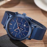 【MINIFOCUS】 クロノグラフ メンズ腕時計 メッシュベルト 防水 クォーツ ステンレス 日付表示 海外トップブランド 便利 シンプル 選べる3色