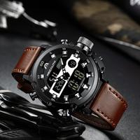 MEGALITH 大人気モデル 多機能 防水 レザーバンド 腕時計 メンズ クロノグラフ 日付表示 発光 クォーツ デュアルスクリーン 海外高級ブランド 有名