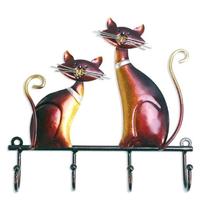 Tooarts ウォールフック ネコ 金属製 アンティーク ハンガーフック 猫 4本 芸術的 おしゃれ かわいい 壁装飾 動物 人気★