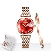 【OLEVS】レディース 腕時計+ブレスレット+ネックレスセット 防水 日付表示 ステンレス製 クォーツ【6642】