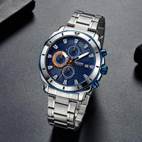 【MEGIR】 腕時計 メンズ クロノグラフ 3気圧防水 クォーツ 日付表示 ステンレス製 ルミナスハンズ ビジネス 海外トップブランド 人気 選べる3色