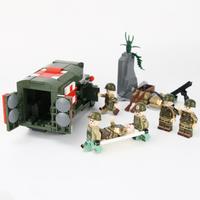 レゴ特殊部隊 レゴ互換 救急車 負傷兵 レスキュー WW2 アメリカ軍 陸軍 戦争 兵士 ミニフィグ ヘルメット 銃 軍隊 兵隊 ミリタリー LEGO風 ブロック セット 知育にもおすすめ