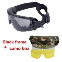タクティカル ゴーグル 曇らない 3色レンズ付き 保護メガネ 耐衝撃 ペイントボール サバゲー エアガン ミリタリー 迷彩ケース付き 3色から選択可能