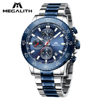 MEGALITH 腕時計 防水 メンズ クロノグラフ 日付表示 ルミナスハンズ 発光 クォーツ 男性用 海外高級ブランド 青
