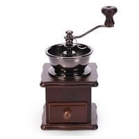コーヒーミル 木製 ヴィンテージ 手動 横ハンドル セラミック 使いやすい 高い耐久性 コーヒーグラインダー ビンテージ おしゃれ ダークブラウン