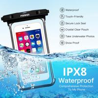 FONKEN スマホケース 防水 水没しても大丈夫 水中撮影可能 丈夫 android iphone 水泳 ダイビング スキー ユニバーサルサイズ 最大6.5インチまで対応 1個 白 黒