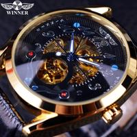 【T-WINNER】 スケルトン 腕時計 メンズ 自動巻き 機械式 レザーベルト 高級 海外トップブランド カジュアル ゴールド+ブラック