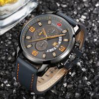 【MINIFOCUS】 防水 クロノグラフ 腕時計 メンズ 本革ベルト クォーツ かっこいい ルミナスハンズ 発光 日付表示 スポーツ 高級 海外ブランド 4色あり