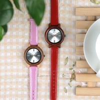 BOBO BIRD スタイリッシュ 革ベルト レディース 木製腕時計 クォーツ 日付表示 P29 洗練されたおしゃれなデザイン 赤 ピンク 選べる2色