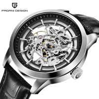 PAGANI DESIGN メンズ腕時計 スケルトン 自動巻き 機械式 3気圧防水 本革ベルト パガーニデザイン 選べる5色