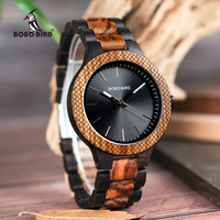 BOBO BIRD ツートンカラー ゼブラ エボニー 木製腕時計 メンズ ミヨタ2035クォーツムーブメント 海外高級ブランド D30-1
