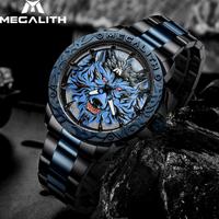 【海外トップブランド】 MEGALITH ウルフヘッド オオカミの文字盤 メンズ腕時計 クォーツ 防水 ルミナスハンズ 個性的 【選べる2色】