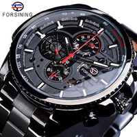 FORSINING メンズ腕時計 機械式 自動巻き 防水 日付 曜日表示 カレンダー 発光 ステンレス製 海外トップブランド 選べる5色