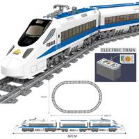 レゴ互換 列車 レールセット 鉄道 電車 電池式 動く トレイン 乗り物 シティ ブロックセット LEGO風 知育玩具 82cm