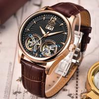 【LIGE】 ダブルトゥールビヨン 2020 メンズ腕時計 5気圧防水 自動巻き 機械式 レザーバンド カジュアル ラグジュアリー ルミナスハンズ 海外トップブランド 選べる4色