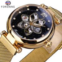 【FORSINING】 自動巻き レディース腕時計 機械式 自動巻き 3気圧防水 メッシュベルト ダイヤモンド ステンレス ルミナスハンズ 発光 海外トップブランド ゴールド