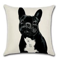 フレンチブルドッグ クッションカバー 45×45cm 正方形 選べる9種類 リネン コットン イラスト グッズ インテリア 雑貨 犬 アニマル