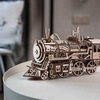 【LK701】 ROBOTIME 機関車 3D ウッドパズル 木製 組み立てキット DIY 乗り物 自作 組み立て簡単 【大人気】