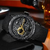 MEGALITH 防水 メンズ腕時計 直径50mm クォーツ ラバーベルト ゴムバンド 男性用 海外トップブランド 黒