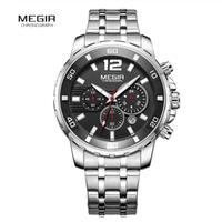 MEGIR 腕時計 メンズ ストップウォッチ クロノグラフ クォーツ 防水 発光 ステンレスバンド ビジネス 2068GGD-2N3