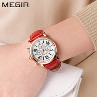 【MEGIR】 レディース腕時計 3気圧防水 クロノグラフ レザーベルト 日付表示 クォーツ 海外トップブランド 女子力UP 赤 白 選べる2色