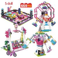 レゴ互換 遊園地 観覧車 空中ブランコ ゴーカート ミニフィグ5体付き LEGO風 知育玩具 ブロックセット 女の子 659ピース