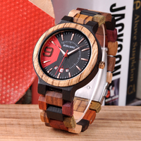 BOBO BIRD 木製腕時計 ゼブラ エボニー 混合バンド ビジネス 日付表示機能付き メンズ ミヨタクォーツムーブメント 海外高級ブランド
