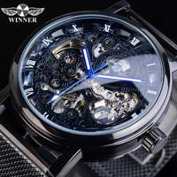 【海外ブランド】 T-WINNER 高級 メンズ スケルトン腕時計 自動巻き 機械式 ステンレスメッシュバンド 【選べる4色】