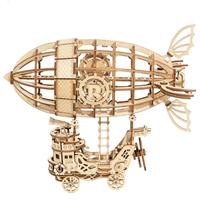 【ROBOTIME】 飛行船 TG407 木製3D立体パズル DIY 組み立てキット 自作 【組み立て簡単】