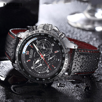 【MEGIR】 腕時計 メンズ 3気圧防水 PUレザーバンド クォーツ ルミナスハンズ 海外トップブランド 選べる2色