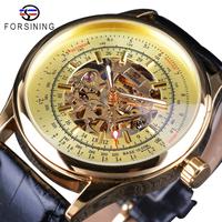 FORSINING スケルトン メンズ腕時計 機械式 手巻き レザーバンド 発光 ルミナスハンズ ビジネス 海外トップブランド ゴールド